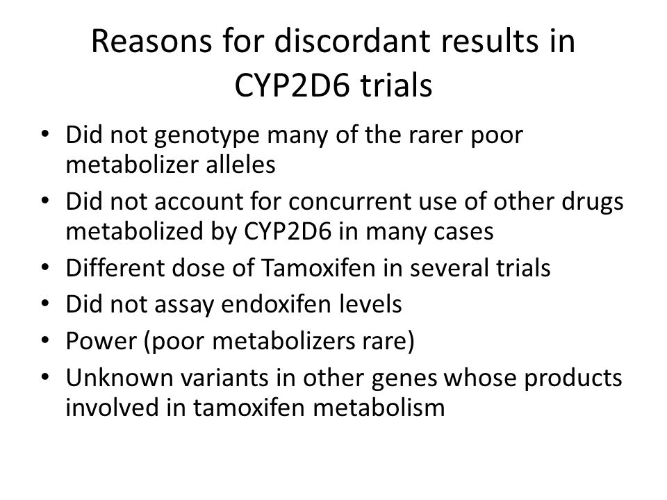 Reasons for discordant results in CYP2D6 trials