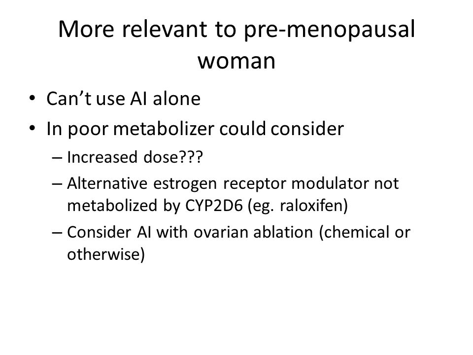 More relevant to pre-menopausal woman