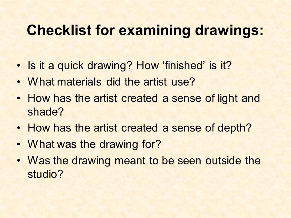 Checklist for examining drawings: