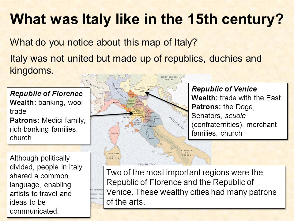What was Italy like in the 15th century
