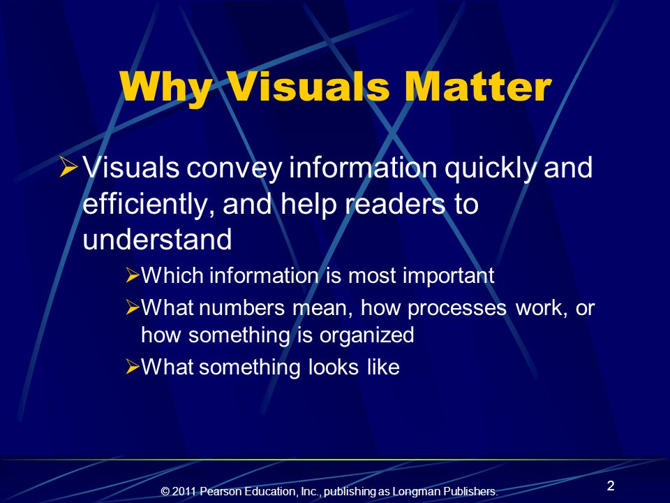 Why Visuals Matter Visuals convey information quickly and efficiently, and help readers to understand.