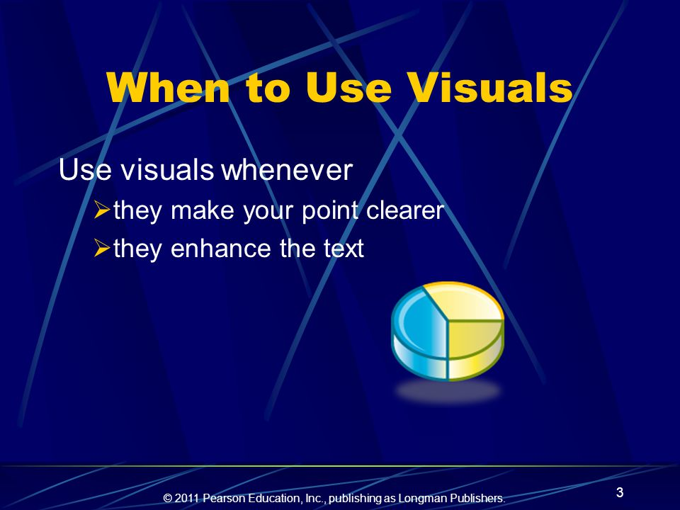 When to Use Visuals Use visuals whenever they make your point clearer
