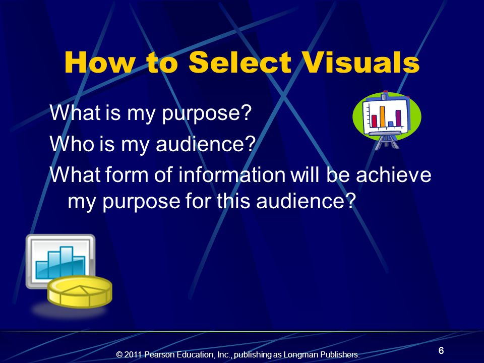 How to Select Visuals What is my purpose Who is my audience