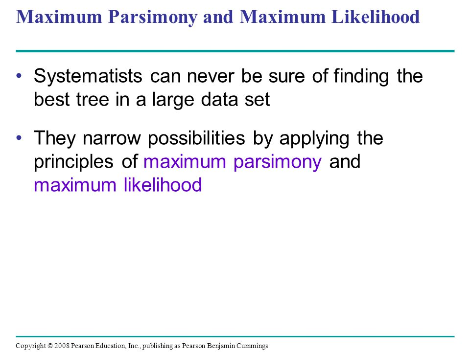 Maximum Parsimony and Maximum Likelihood