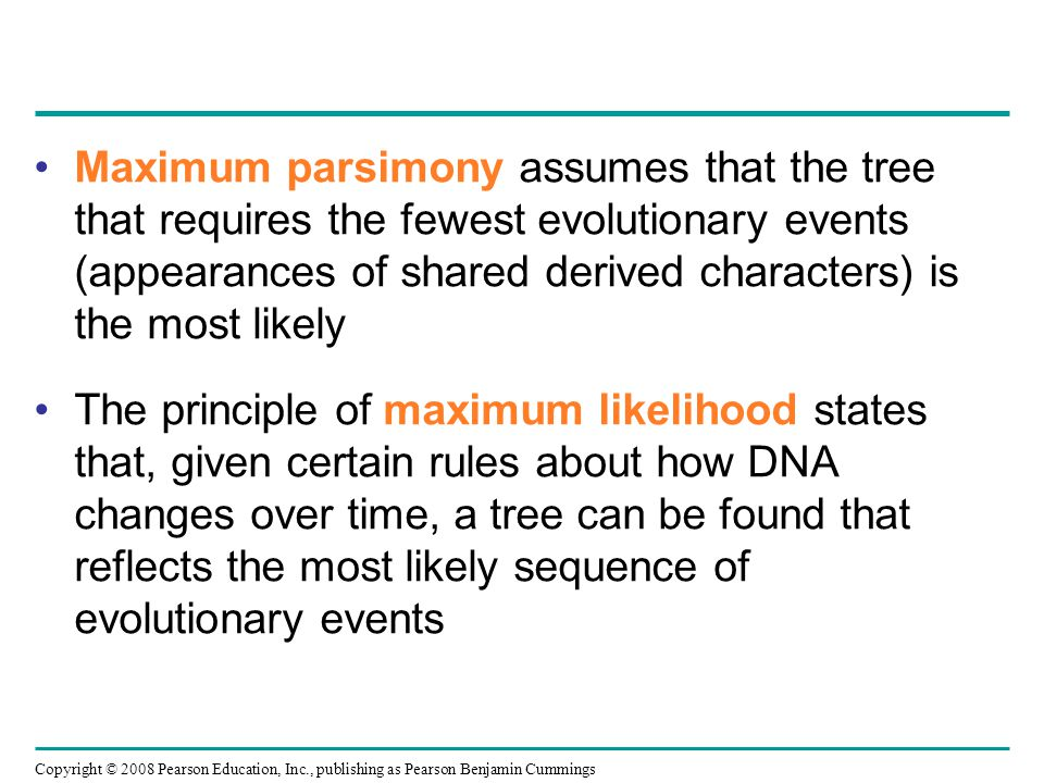 Maximum parsimony assumes that the tree that requires the fewest evolutionary events (appearances of shared derived characters) is the most likely
