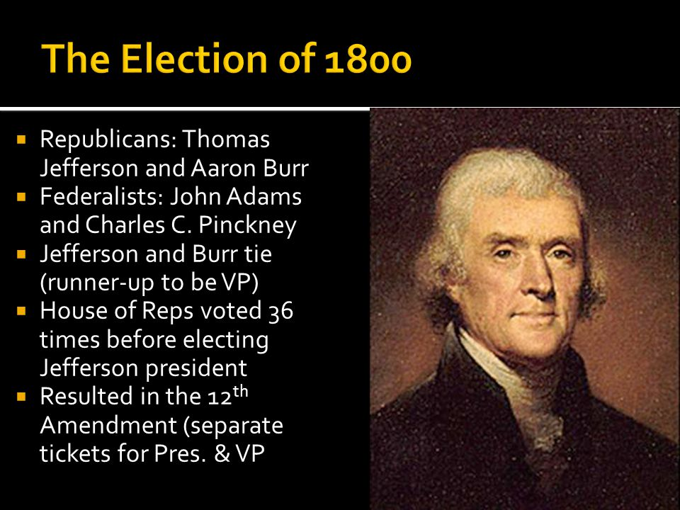The Election of 1800 Republicans: Thomas Jefferson and Aaron Burr