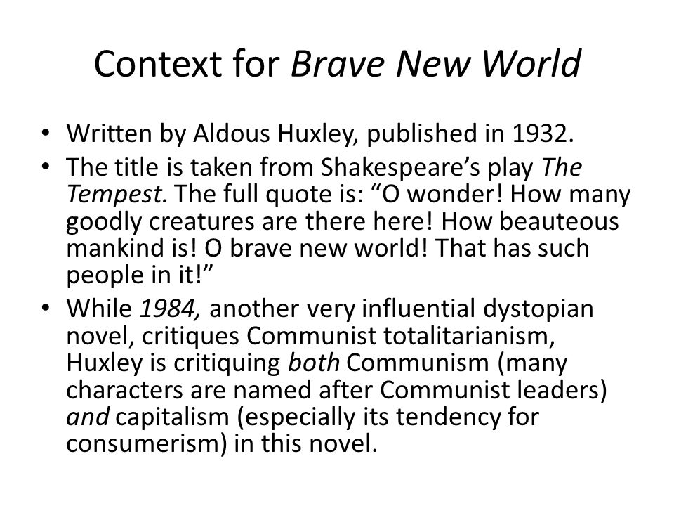 Context for Brave New World