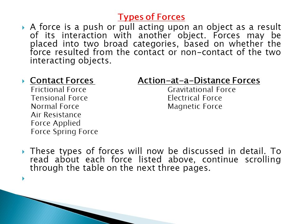 Contact Forces Action-at-a-Distance Forces