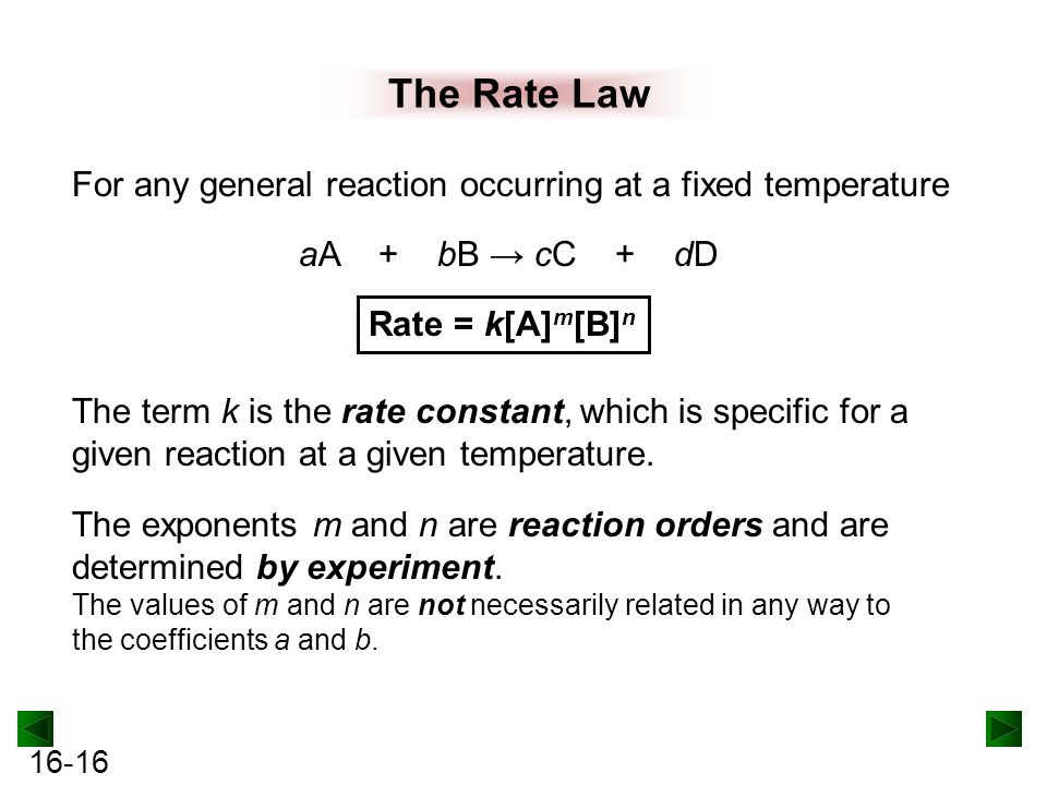 reaction order and rate laws lab Chapter 11: rate of reaction this equation is called the rate expression or rate law and k is called the rate constant for a zero-order reaction, the rate.