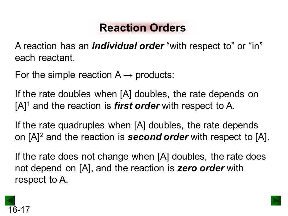 Reaction Orders A reaction has an individual order with respect to or in each reactant. For the simple reaction A → products: