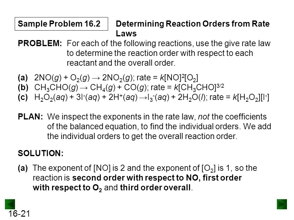 Sample Problem 16.2 Determining Reaction Orders from Rate Laws. PROBLEM: