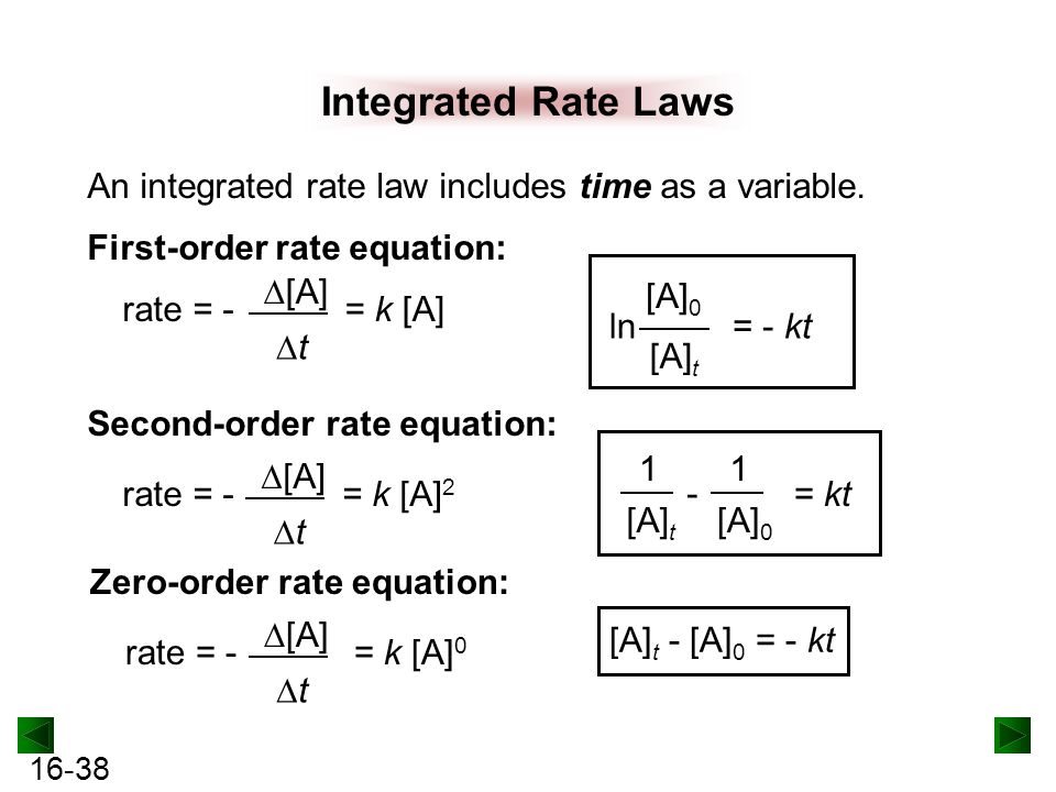 Integrated Rate Laws An integrated rate law includes time as a variable. First-order rate equation: