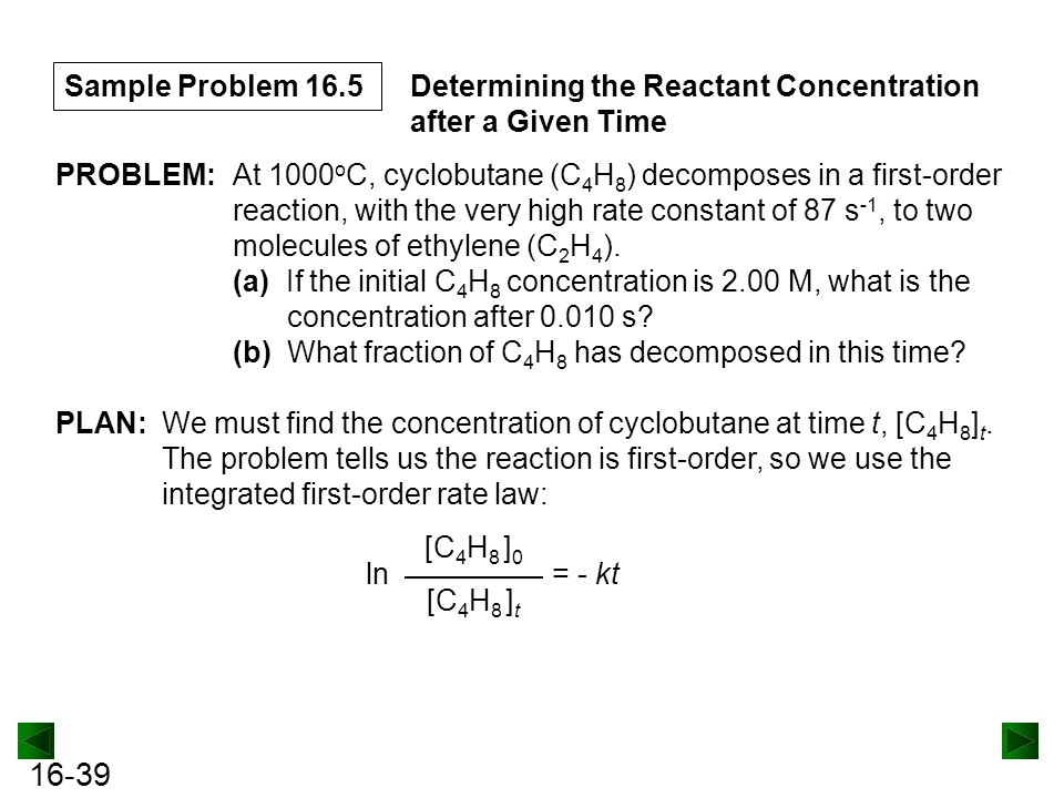 Sample Problem 16.5 Determining the Reactant Concentration after a Given Time. PROBLEM:
