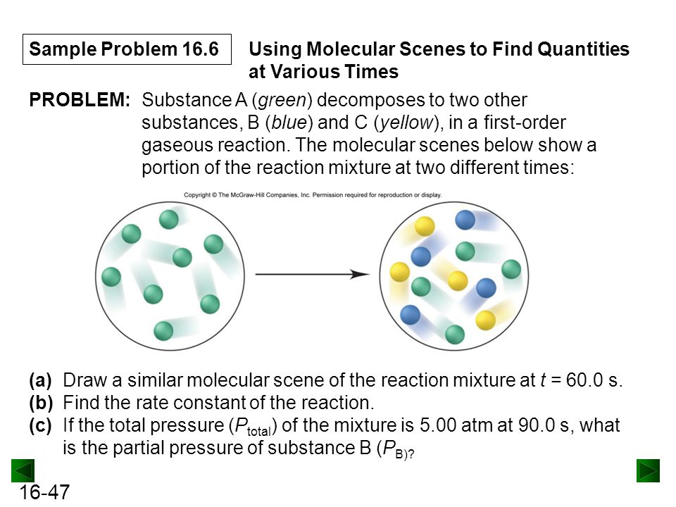 Sample Problem 16.6 Using Molecular Scenes to Find Quantities at Various Times. PROBLEM: