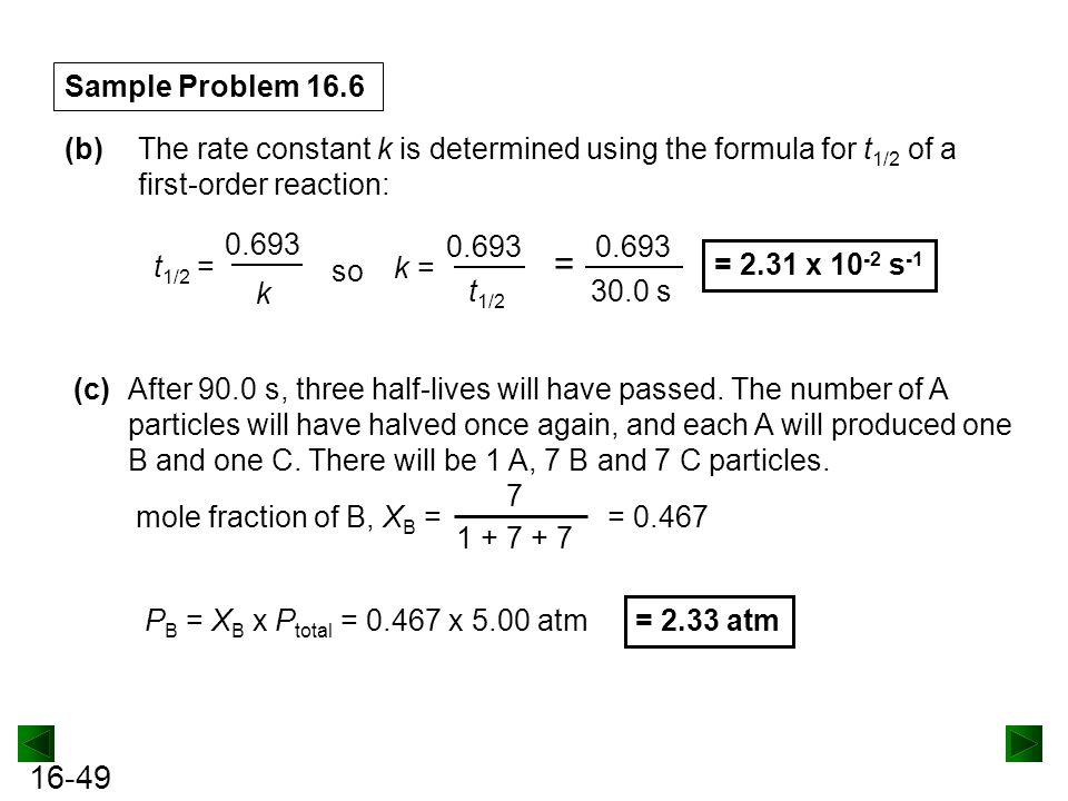 Sample Problem 16.6 (b) The rate constant k is determined using the formula for t1/2 of a first-order reaction: