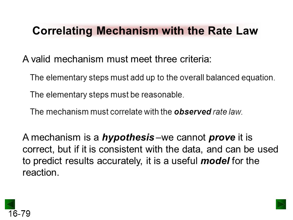 Correlating Mechanism with the Rate Law