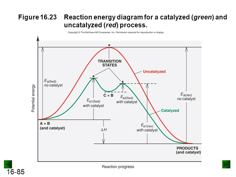 Figure 16.23 Reaction energy diagram for a catalyzed (green) and uncatalyzed (red) process.
