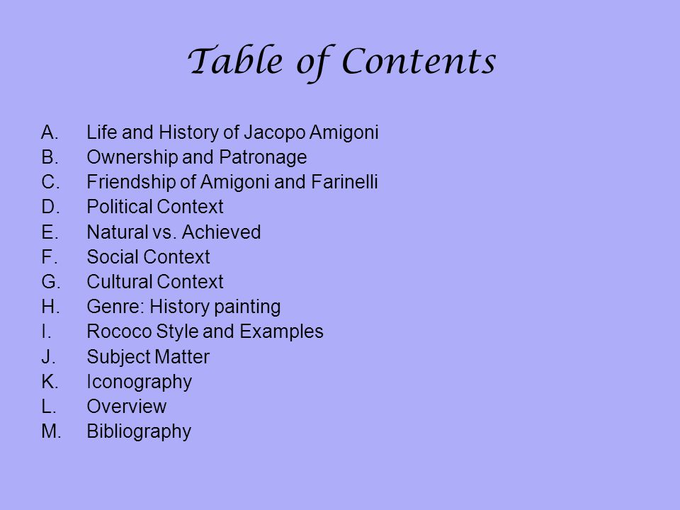 Table of Contents Life and History of Jacopo Amigoni