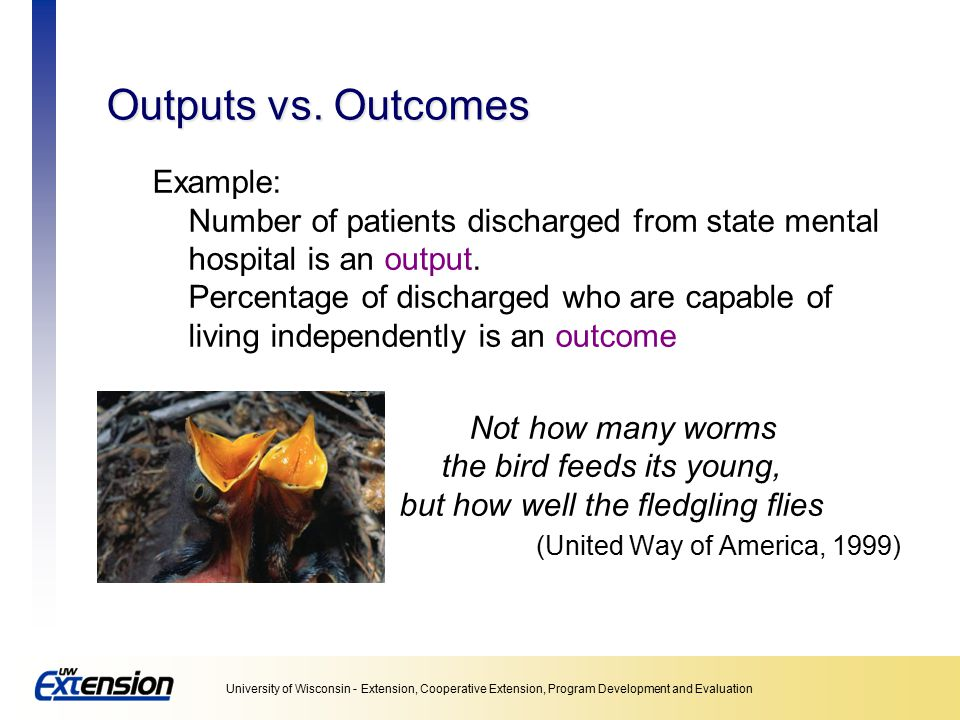Outputs vs. Outcomes