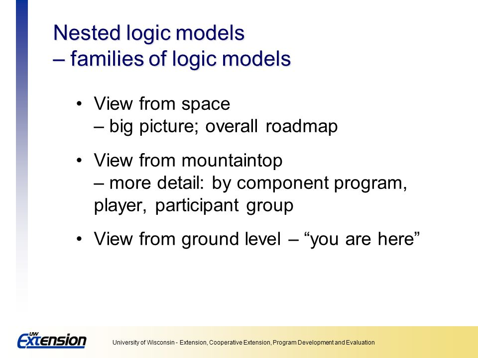 Nested logic models – families of logic models