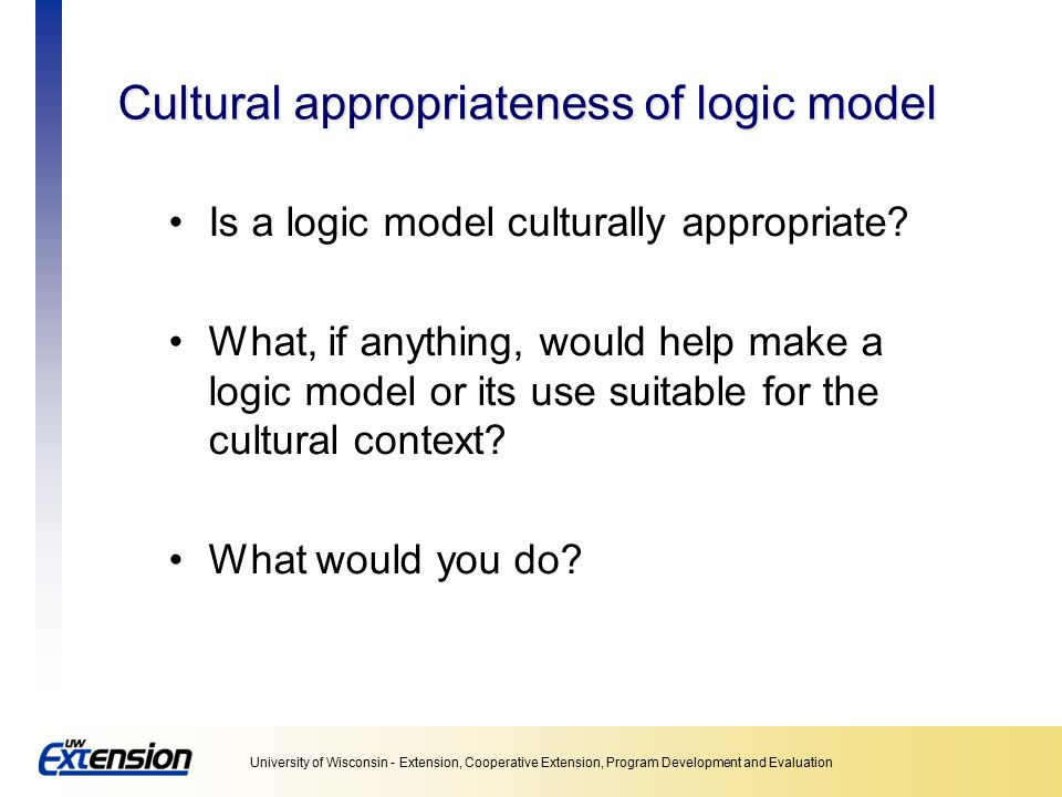 Cultural appropriateness of logic model