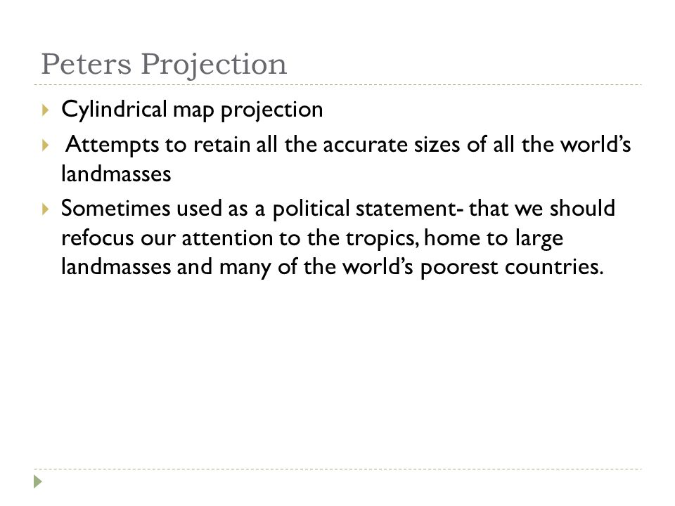 Peters Projection Cylindrical map projection
