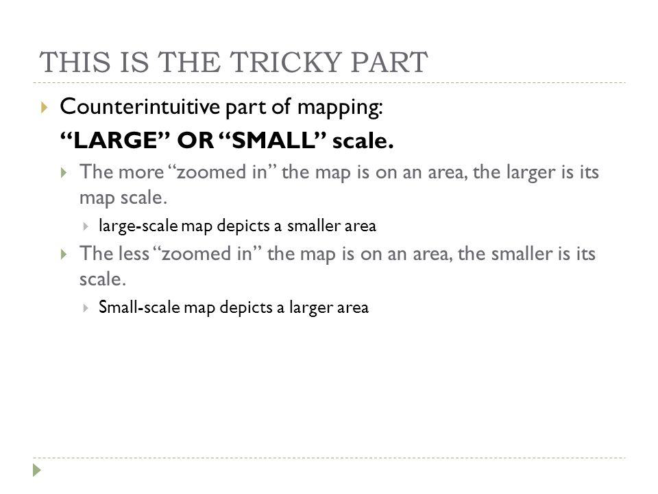 THIS IS THE TRICKY PART Counterintuitive part of mapping: