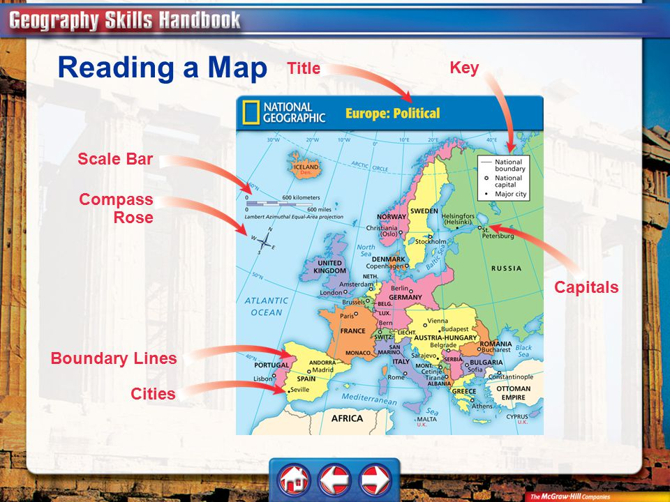 Reading a Map Title Key Scale Bar Compass Rose Capitals Boundary Lines