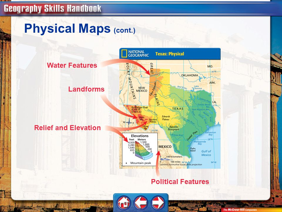 Physical Maps (cont.) Water Features Landforms Relief and Elevation