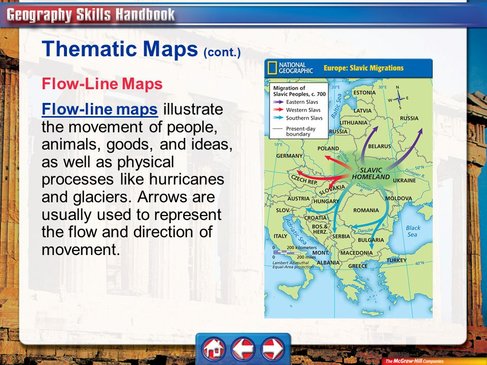 Thematic Maps (cont.) Flow-Line Maps