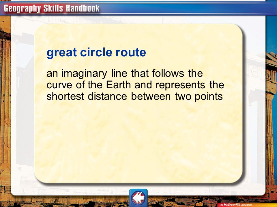 great circle route an imaginary line that follows the curve of the Earth and represents the shortest distance between two points.
