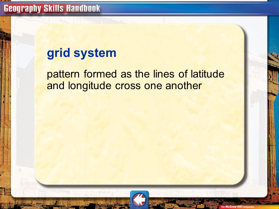 grid system pattern formed as the lines of latitude and longitude cross one another Vocab11
