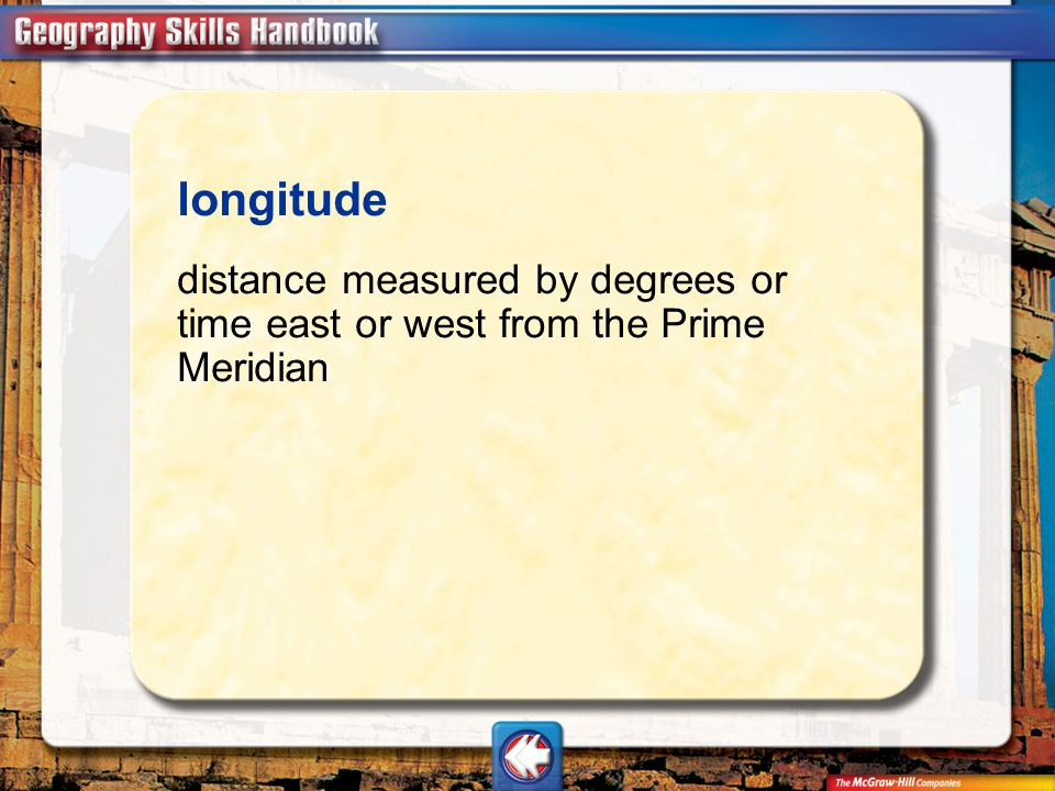 longitude distance measured by degrees or time east or west from the Prime Meridian Vocab14