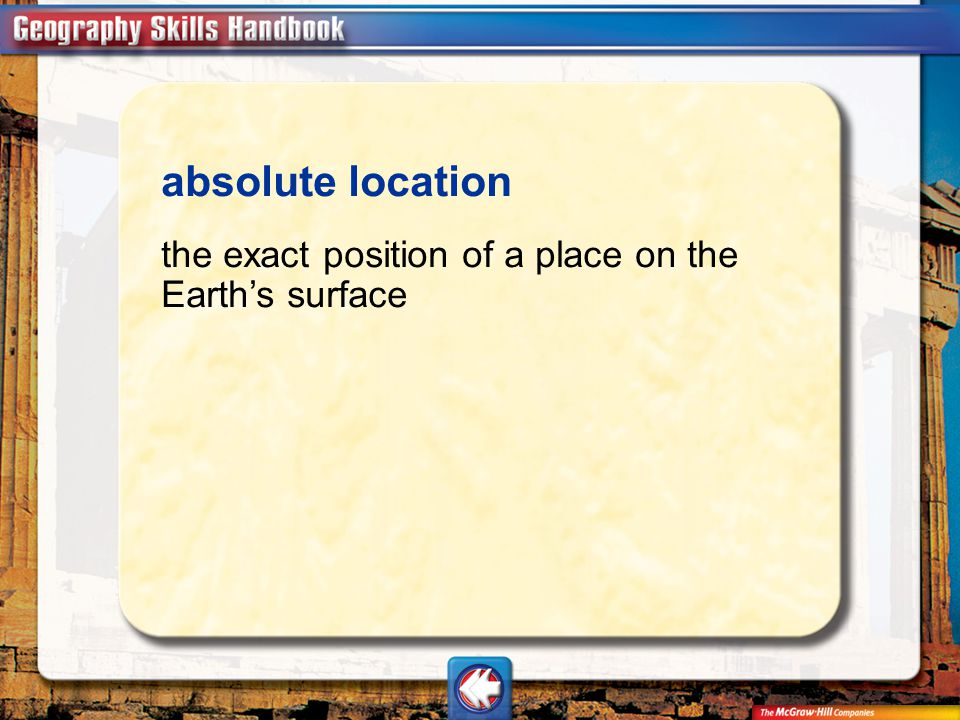 absolute location the exact position of a place on the Earth's surface