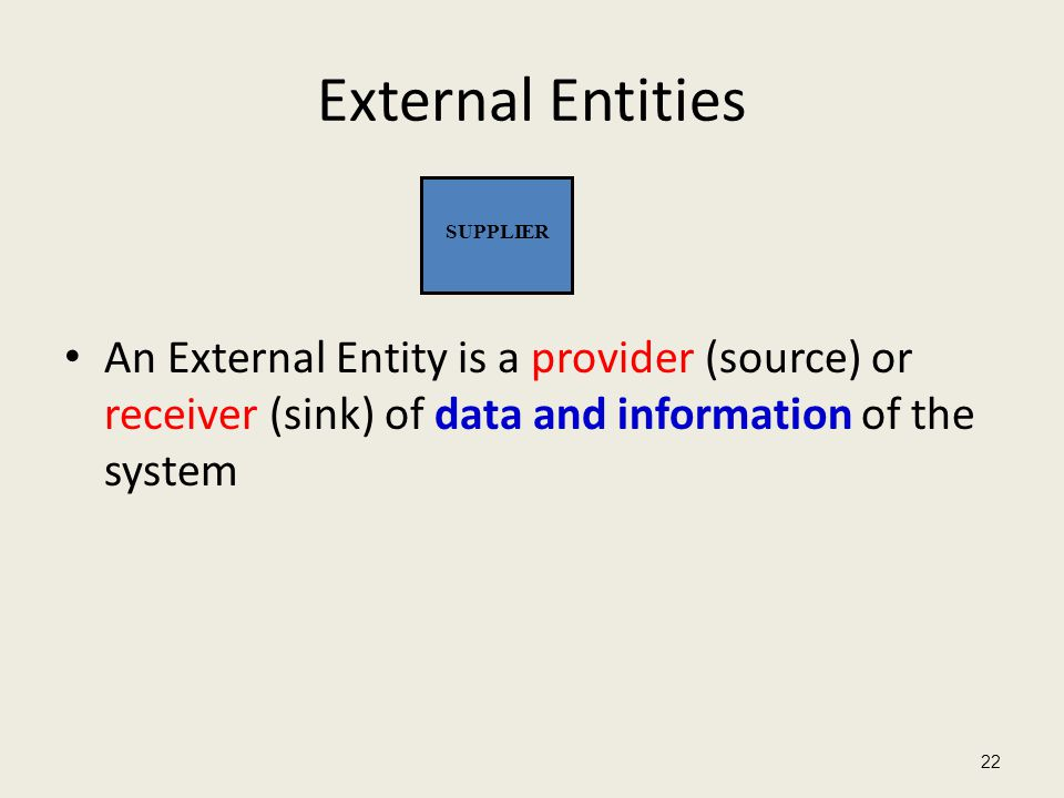 External Entities An External Entity is a provider (source) or receiver (sink) of data and information of the system.