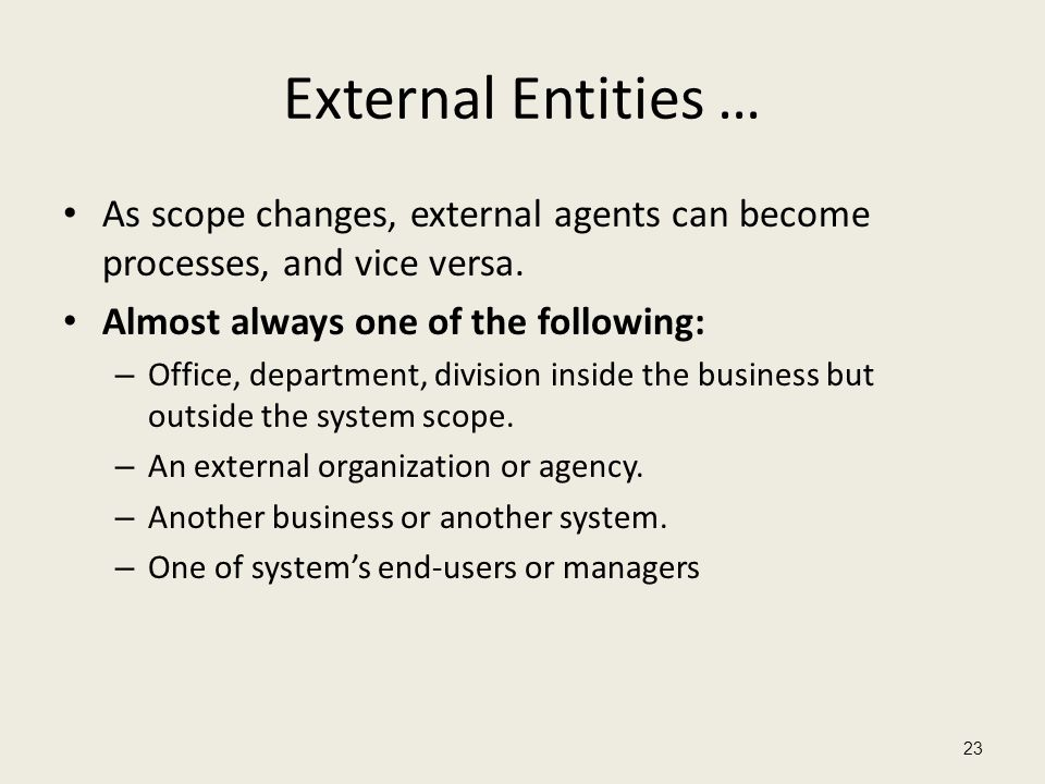 External Entities … As scope changes, external agents can become processes, and vice versa. Almost always one of the following: