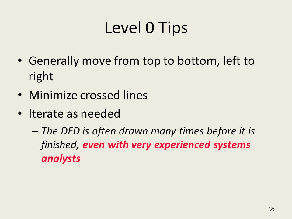 Level 0 Tips Generally move from top to bottom, left to right