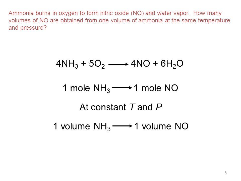 4NH3 + 5O2 4NO + 6H2O 1 mole NH3 1 mole NO At constant T and P