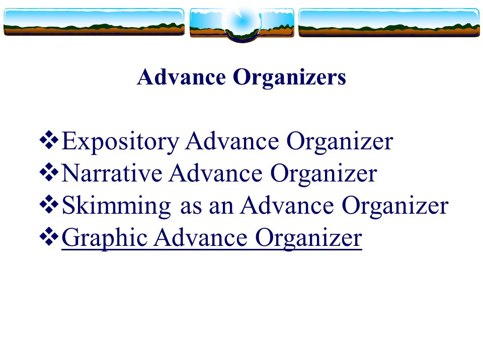 Expository Advance Organizer Narrative Advance Organizer