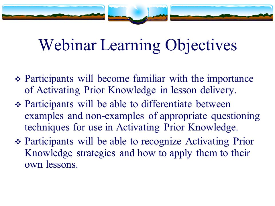 Webinar Learning Objectives