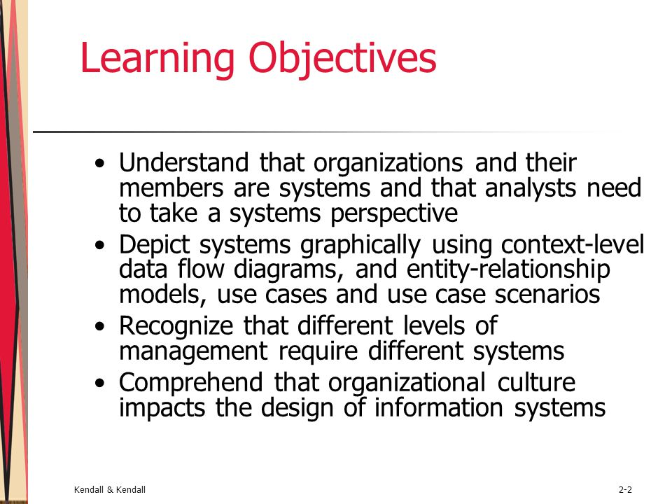 Learning Objectives Understand that organizations and their members are systems and that analysts need to take a systems perspective.