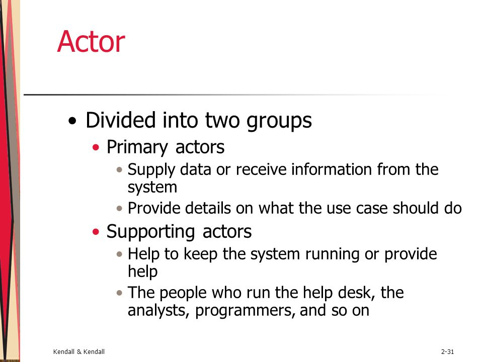 Actor Divided into two groups Primary actors Supporting actors