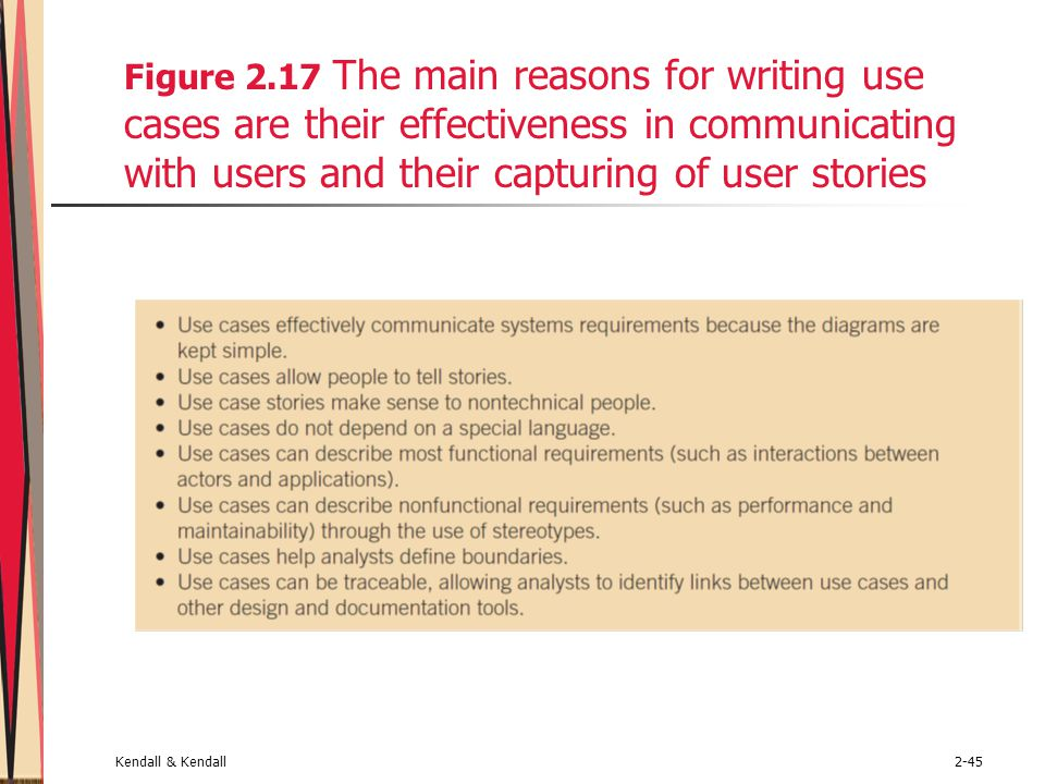 Figure 2.17 The main reasons for writing use cases are their effectiveness in communicating with users and their capturing of user stories