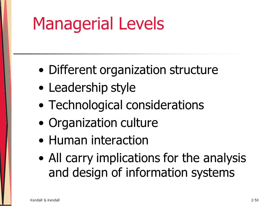 Managerial Levels Different organization structure Leadership style