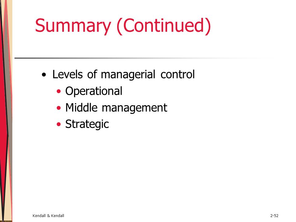 Summary (Continued) Levels of managerial control Operational
