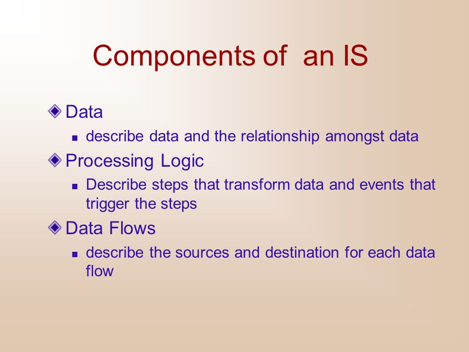 Components of an IS Data Processing Logic Data Flows
