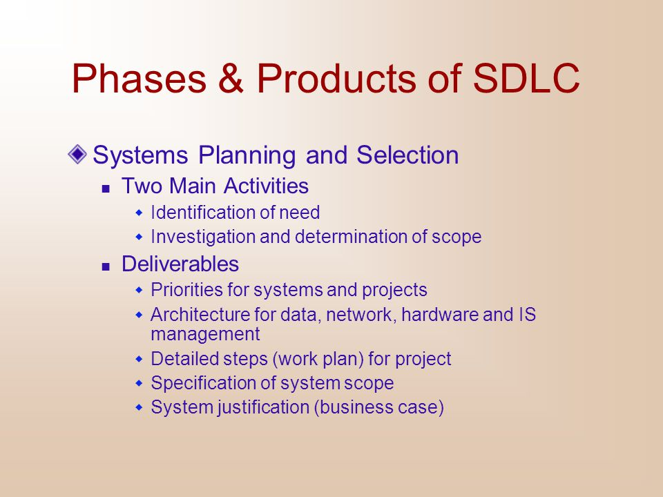 Phases & Products of SDLC