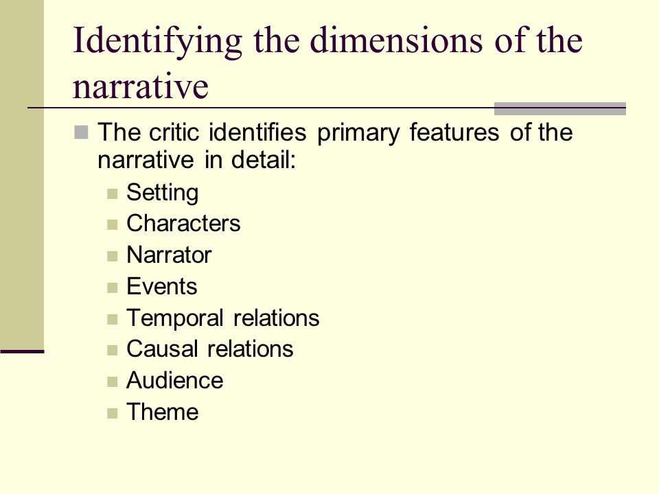 Identifying the dimensions of the narrative