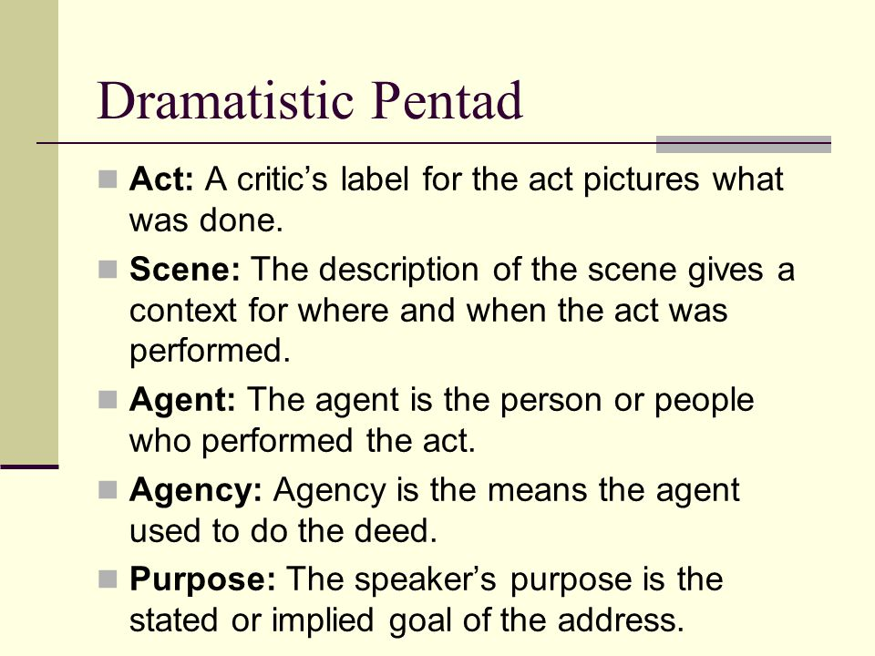 Dramatistic Pentad Act: A critic's label for the act pictures what was done.
