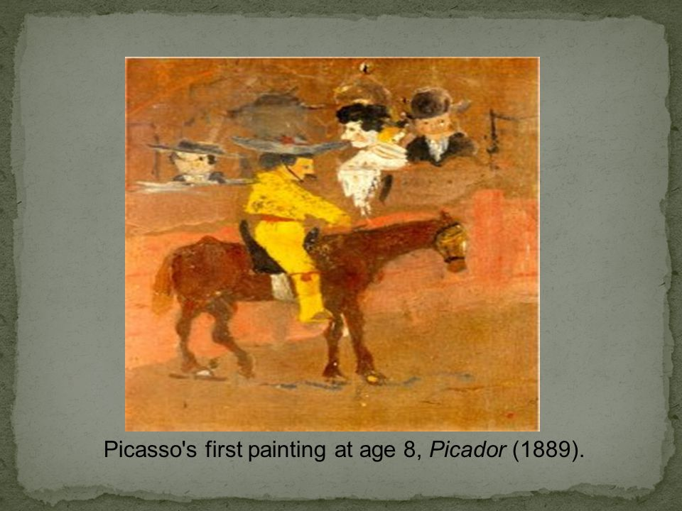 Picasso s first painting at age 8, Picador (1889).